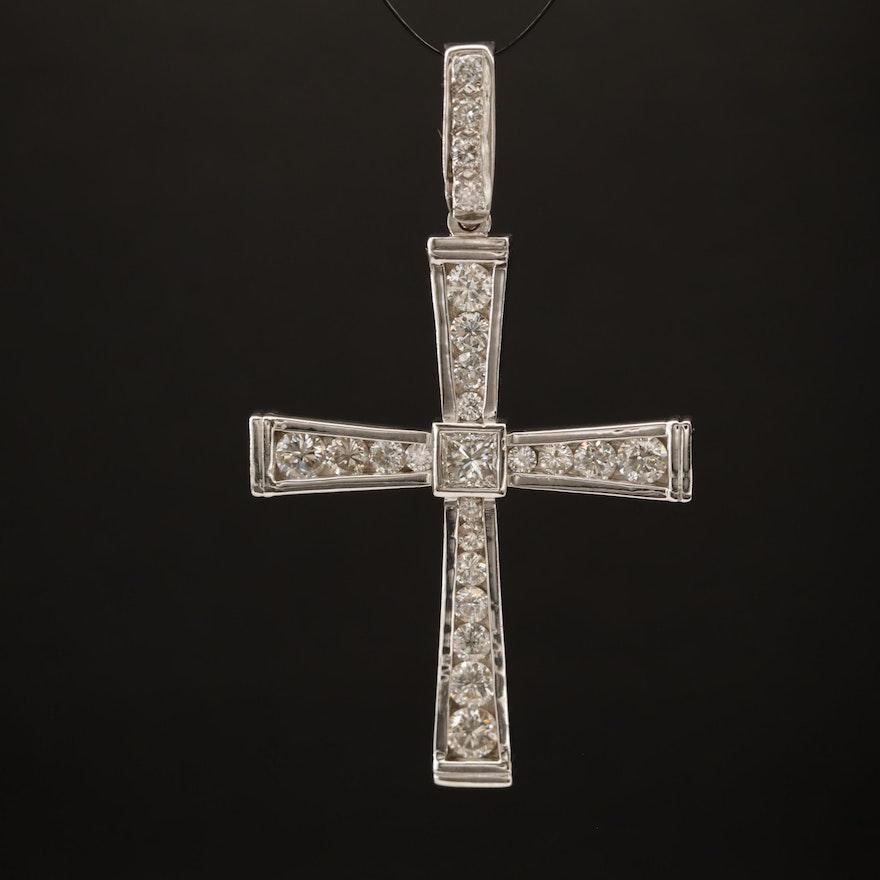 14K 2.09 CTW Diamond Cross Pendant