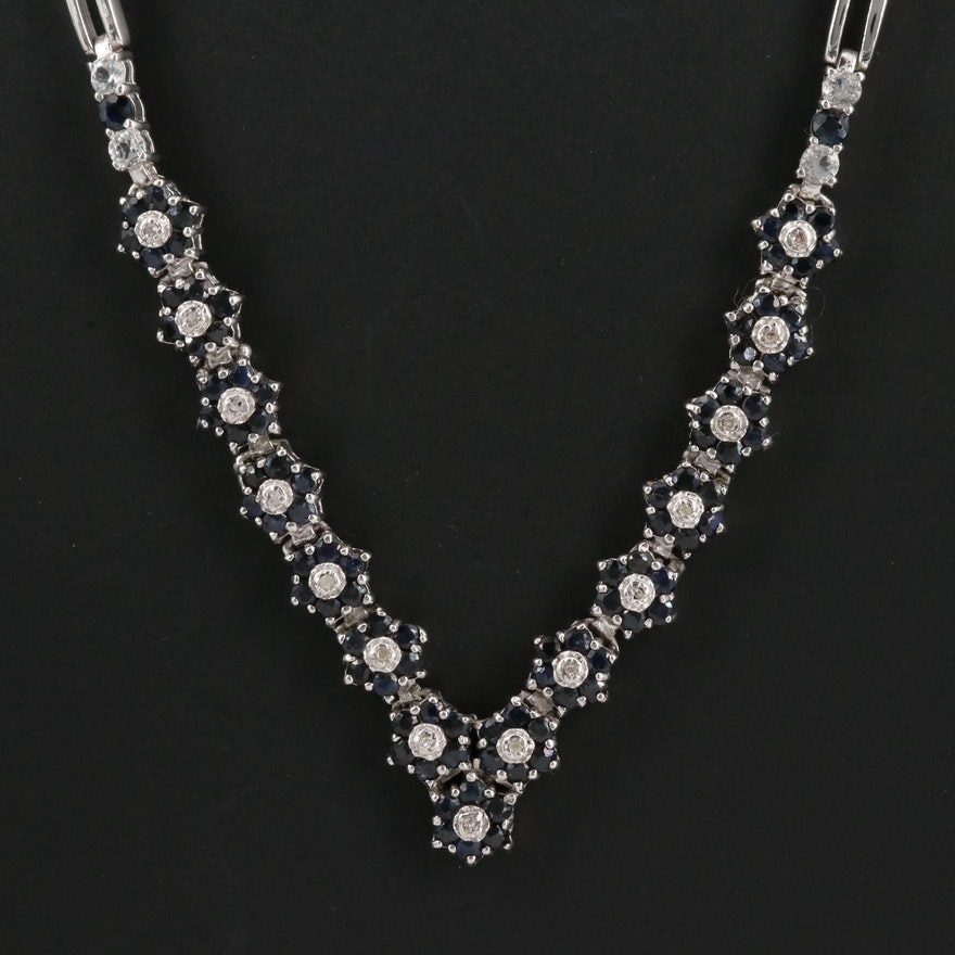 Sterling Diamond Necklace with Sapphire and Topaz