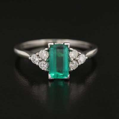 18K Emerald and Diamond Ring
