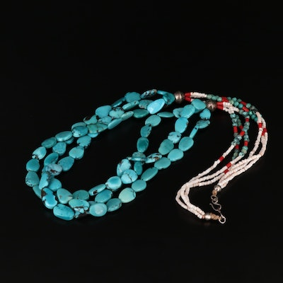 Southwestern Style Three Strand Turquoise Beaded Necklace