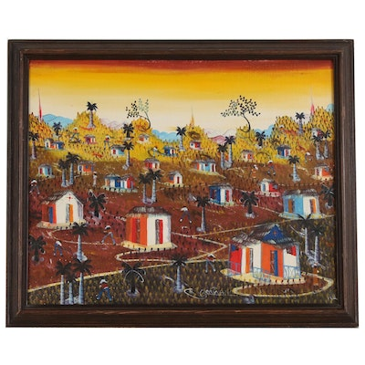 Haitian Folk Style Oil Painting of Sunset Landscape