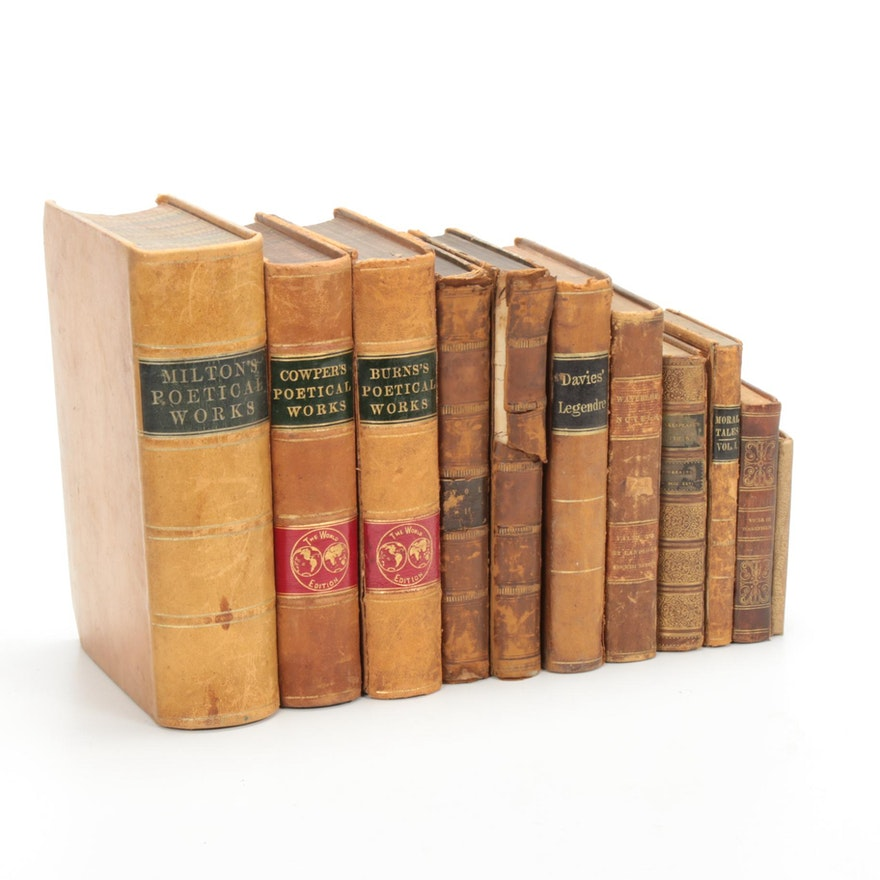 Fiction and Nonfiction Books Including Milton, Early to Mid-19th Century