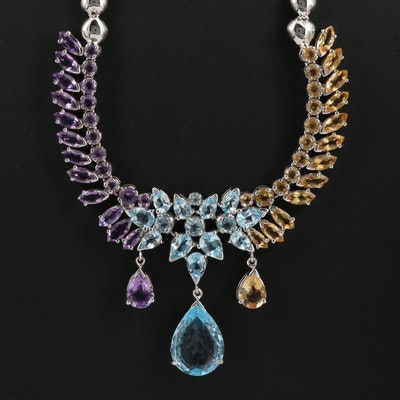 Sterling Topaz, Amethyst and Citrine Necklace