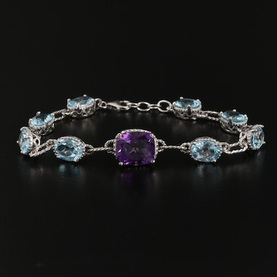 Sterling Silver Amethyst and Topaz Bracelet
