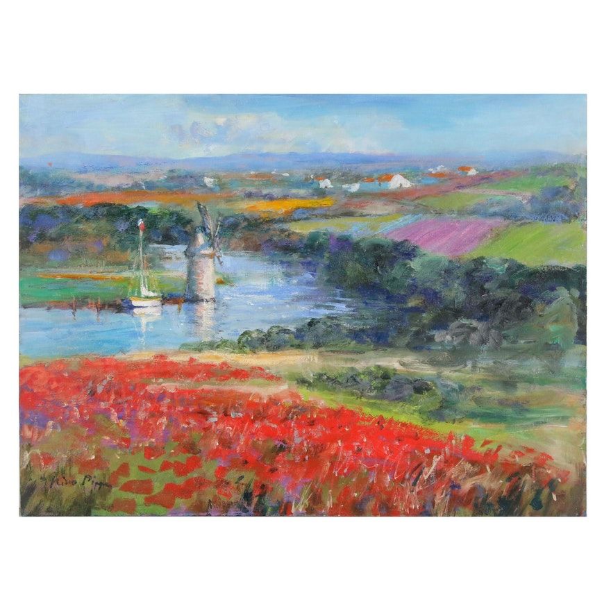 """Nino Pippa Oil Painting """"The Old Windmill on the Rhone"""", 2016"""