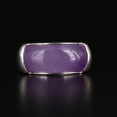 Sterling Silver Jadeite Saddle Ring