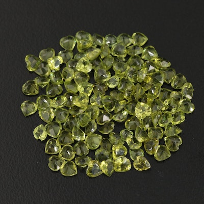 Loose 25.68 CTW Heart Faceted Peridots