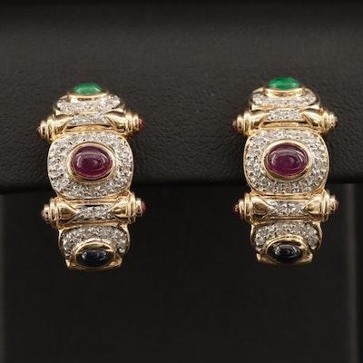 14K Ruby, Sapphire, Emerald and Diamond Half Hoop Earrings