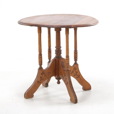Victorian, Eastlake Style Maple Lamp Table, Late 19th or Early 20th Century