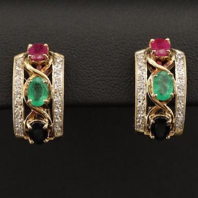 14K Sapphire, Emerald, Ruby and Diamond Half Hoop Earrings