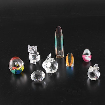 Fenton, Swarovski and Other Art Glass Figurines and Paperweights