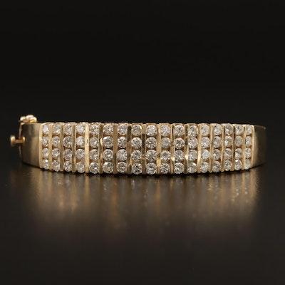 14K 5.25 CTW Channel Set Diamond Bangle Bracelet