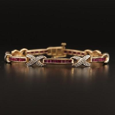 14K Ruby and Diamond Link Bracelet