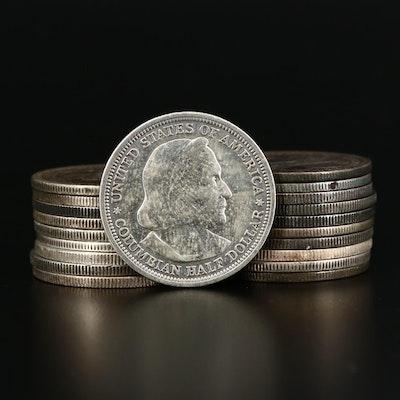 Twenty 1893 Columbian Exposition Commemorative Silver Half Dollars