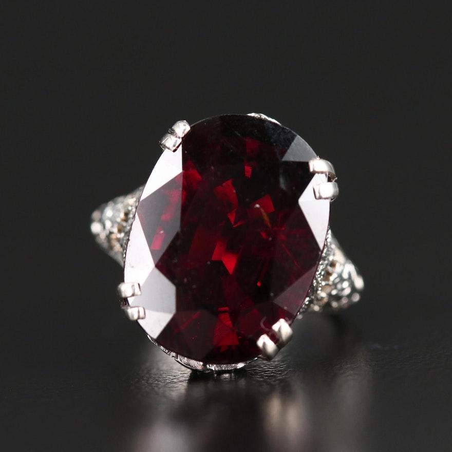 Edwardian Style 18K Garnet Ring
