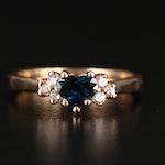 14K Sapphire and Diamond Heart Ring