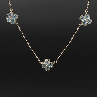 14K Topaz and Diamond  Floral Station Necklace