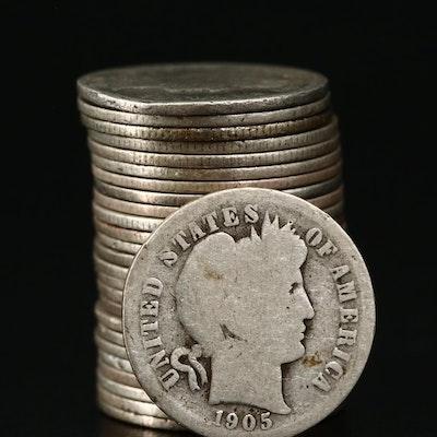 Twenty-Five Barber Silver Dimes