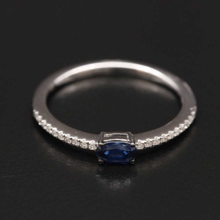 EFFY 14K Sapphire Ring with Diamond Accents