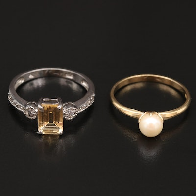 Sterling Silver Citrine Ring and Cultured Pearl Ring