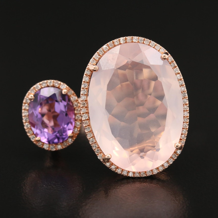 EFFY 14K Rose Quartz, Amethyst and Diamond Ring