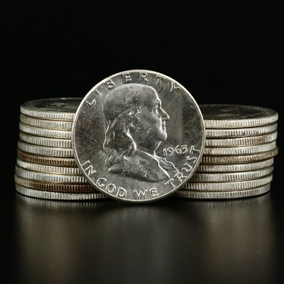 Twenty Uncirculated 1963 Franklin Silver Half Dollars
