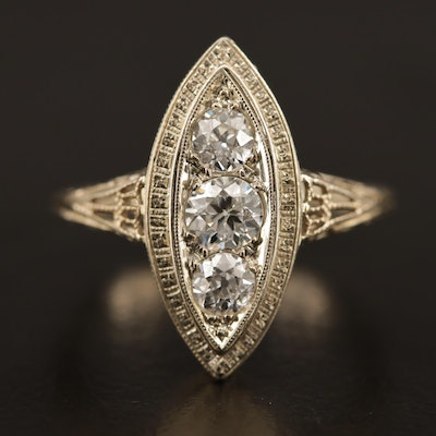 Vintage 18K Diamond Navette Ring