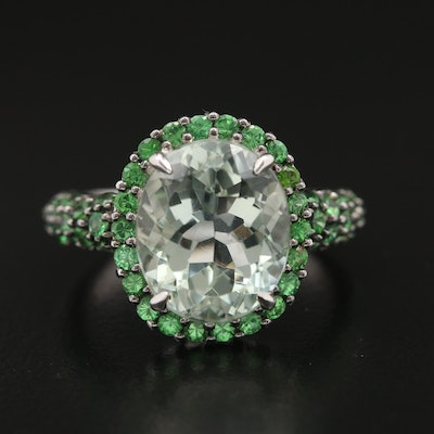 BH 14K 5.60 CT Prasiolite and Tsavorite Ring