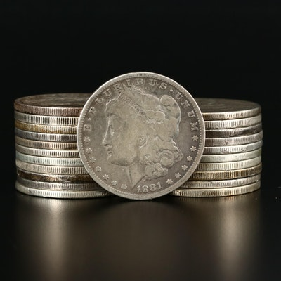 Twenty-Two Circulated Pre-1904 Morgan Silver Dollars