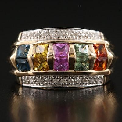 10K Sapphire and Diamond Band