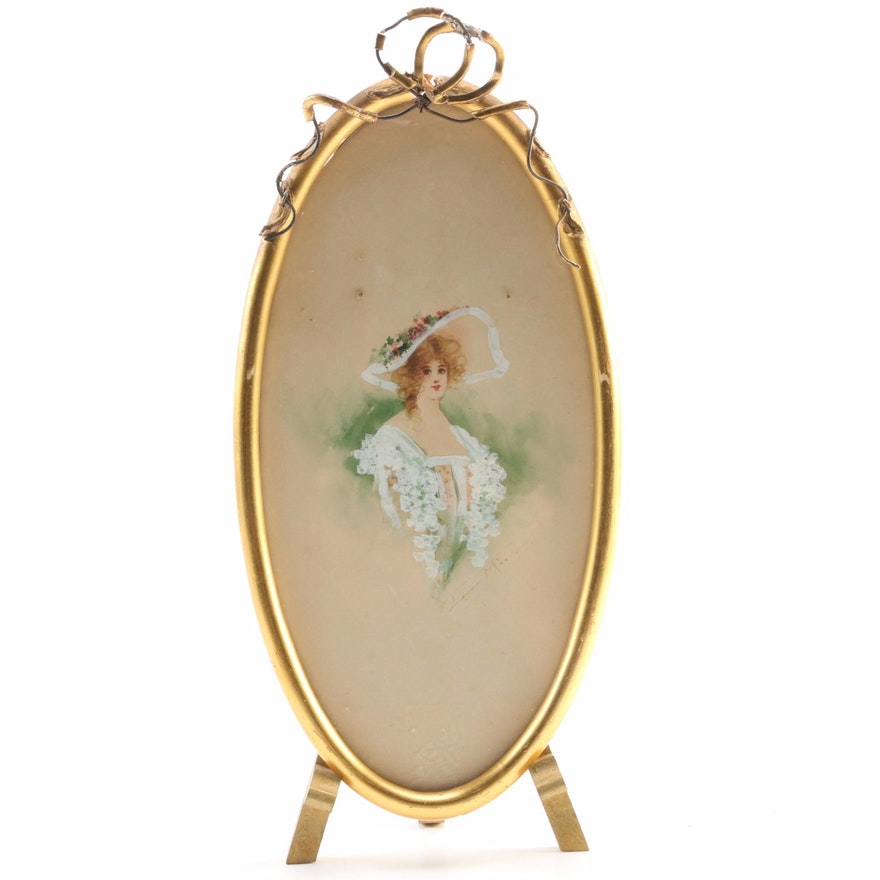 Hand-Painted Portrait in Gilt Frame on Wooden Stand