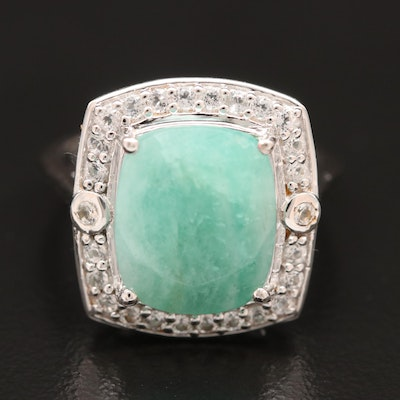 Sterling Silver Amazonite and Topaz Ring