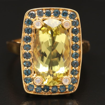 Sterling Citrine and Zircon Ring