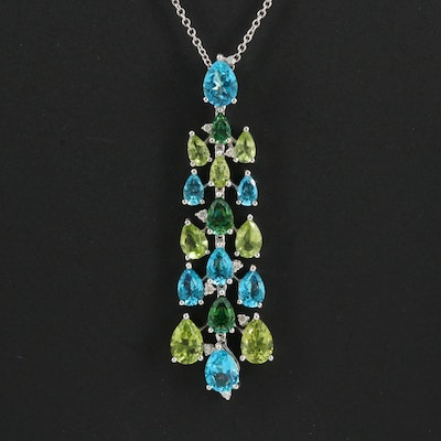 EFFY 14K Topaz, Peridot and Diamond Drop Pendant Necklace