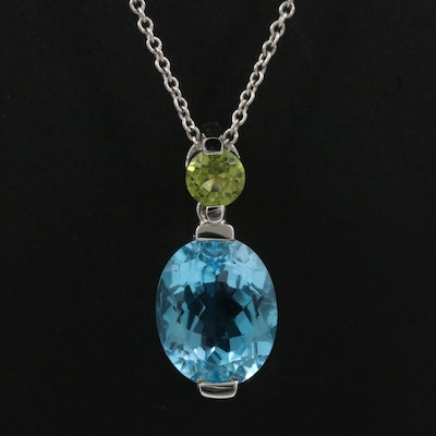 14K Peridot and Topaz Pendant Necklace