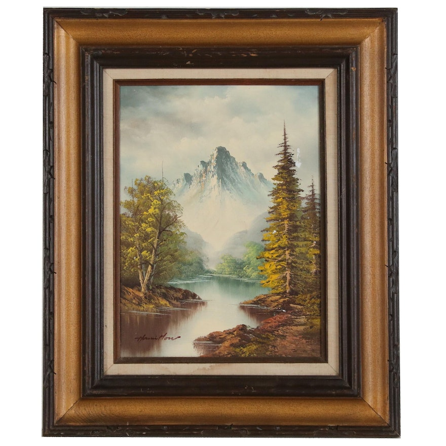 Mountain Landscape Painting, Late 20th Century