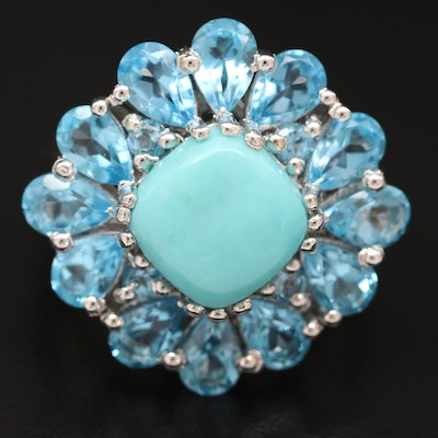 Sterling Turquoise Ring with Topaz Accents