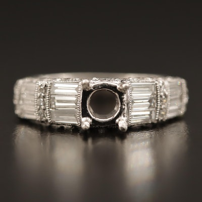 Platinum 1.02 CTW Diamond Semi-Mount Ring