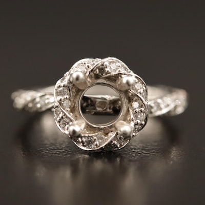 Platinum Diamond Semi-Mount Ring with Halo and Twisted Design