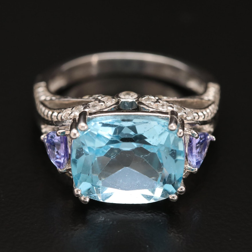 Sterling Topaz and Tanzanite Ring