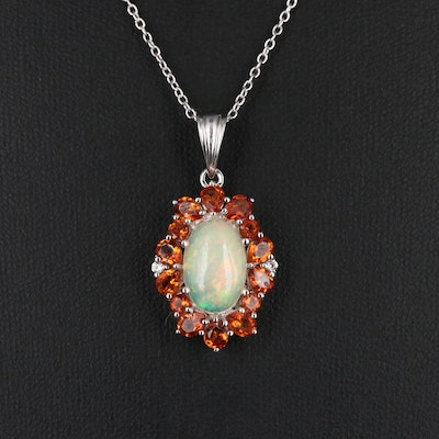 Sterling Silver Opal, Citrine and Topaz Pendant Necklace