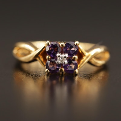 18K Amethyst and Diamond Ring