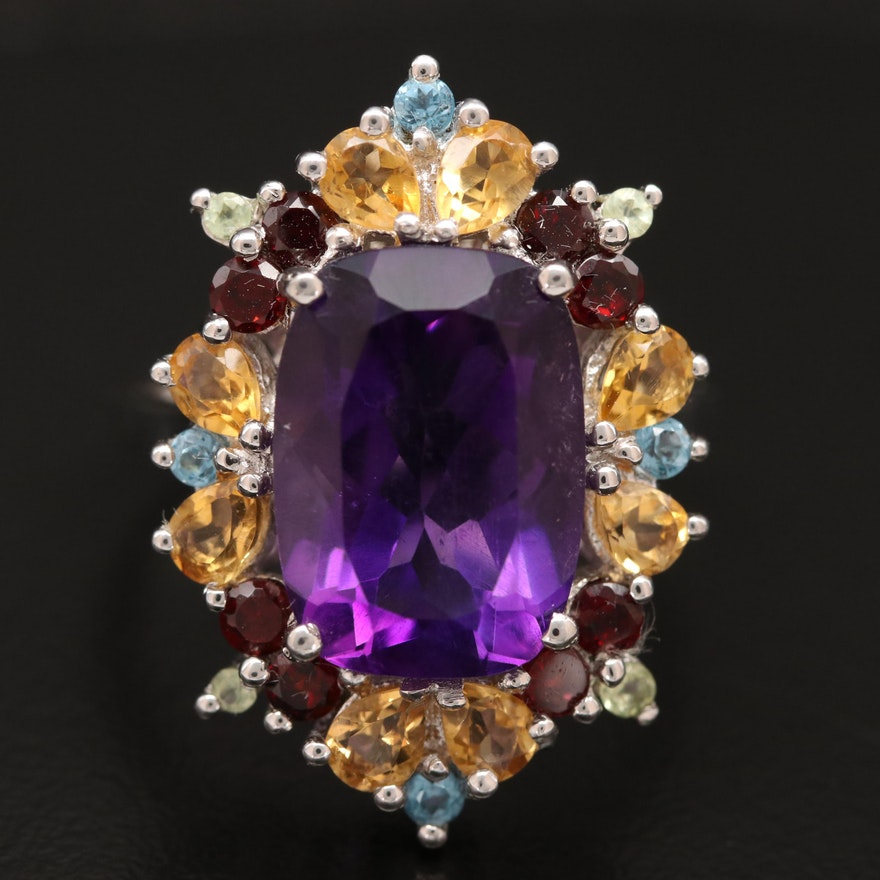 Sterling Amethyst Ring with Citrine and Garnet Accents