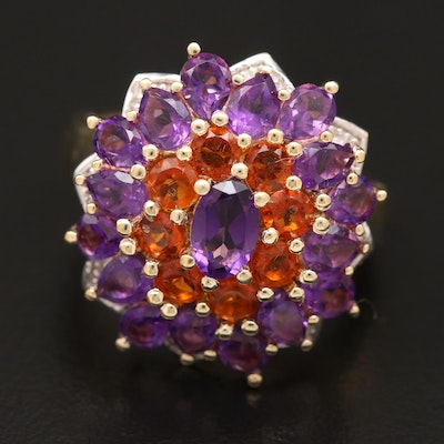 Sterling Silver Amethyst and Spessartine Ring