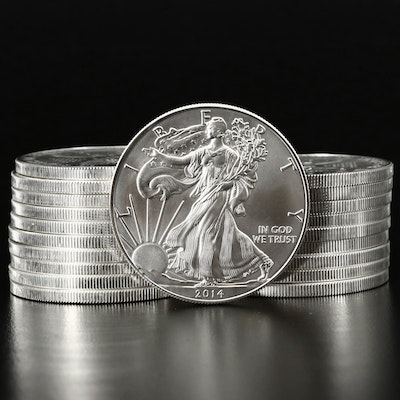 Mint Roll of Twenty 2014 American Silver Eagle Bullion Coins