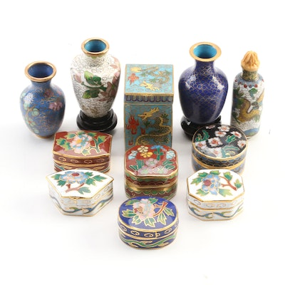 Chinese Cloisonné Vases and Snuff Bottle with Cloisonné Box Collection