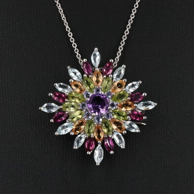 Sterling Amethyst, Peridot and Rhodolite Garnet Converter Pendant Necklace