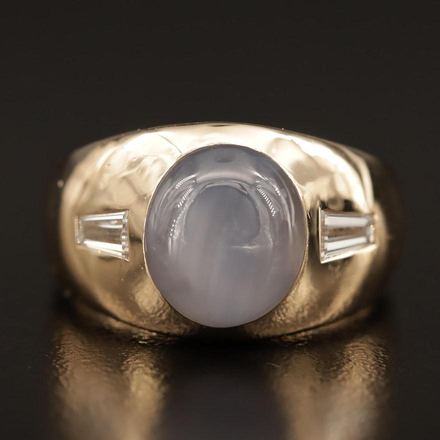 14K Star Sapphire and Diamond Ring