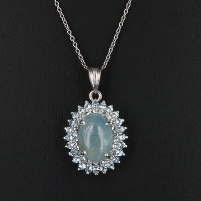 Sterling Silver Aquamarine Pendant Necklace with Topaz Accents