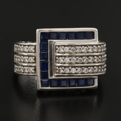 Sterling Silver Sapphire and Cubic Zirconia Buckle Ring